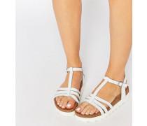 T-Steg-Sandalen mit flacher Plateausohle Weiß