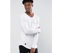 Langes, langärmliges T-Shirt mit großer Tasche Weiß