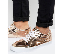 Sneaker zum Schnüren in Kupfergold-Metallic Kupfer