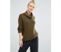 Pullover mit Rollkragen und Ballonärmeln Grün