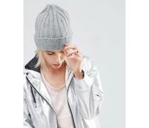 Beanie-Mütze aus Lammwolle Grau