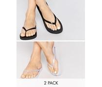 FRIENDLY Zweier-Packung Flip-Flops Schwarz