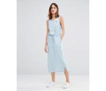 Chambray-Kleid mit asymmetrischer Taille Blau
