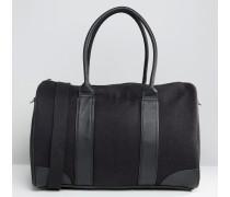 Melton-Reisetasche mit Kontrastborten Schwarz
