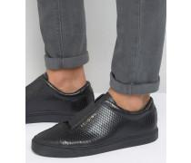 Sneaker in Schlangenlederoptik Schwarz