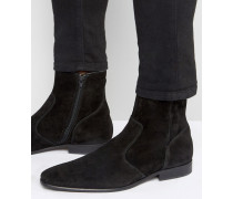 Stiefel aus Wildleder mit Reißverschluss Schwarz
