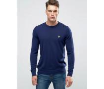 Marineblauer Pullover mit Rundhalsausschnitt aus Baumwolle/Merinowolle Marineblau