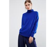 Rollkragenpullover aus 100% Kaschmir Blau