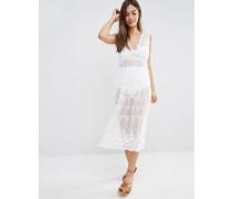 Transparentes Strandkleid mit Spitzenbesatz in Midilänge Weiß