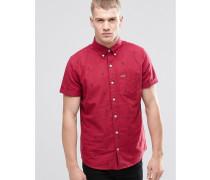 Schmales, kurzärmliges Oxford-Hemd mit Kaktus-Print Rot