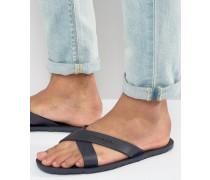 Flip-Flops mit überkreuzten Riemen Schwarz