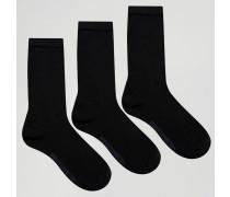 3er-Pack einfarbige Socken, Geschenkbox Schwarz