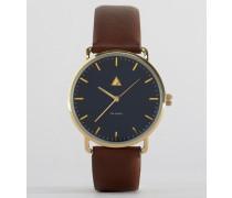 Uhr mit marineblauem Zifferblatt und braunem Armband Braun