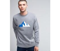 Sweatshirt mit Rundhalsausschnitt und geometrischem Bergprint Grau