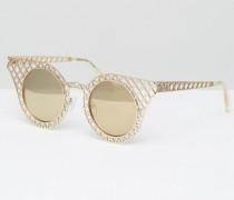 Cagefighter Goldene Katzenaugensonnenbrille Silber