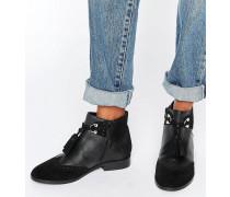 ALYA Ankle-Boots aus Leder mit Quaste Schwarz