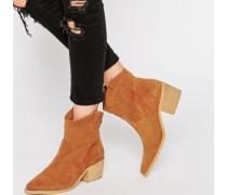 Premium Western-Stiefel aus echtem Wildleder Bronze