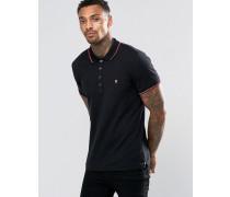 T-Skin Pikee-Polohemd mit Streifen an Kragen und an den Ärmelabschlüssen Schwarz