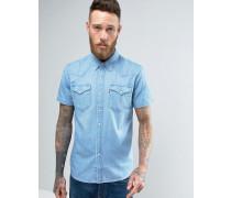 Klassisches, kurzärmliges Jeans-Hemd im Westernstil Beige