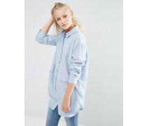 Langes Oversize-Twillhemd mit kontrastierenden Knöpfen Blau