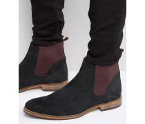 Chelsea-Stiefel aus schwarzem Wildleder Schwarz