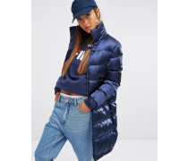 Lang geschnittener wattierter Mantel aus seidigem Stoff Marineblau