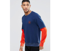 10003126-A01 Blauer Fleecepullover mit Blockstreifen und Rundhalsausschnitt Blau
