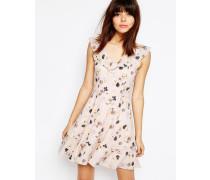 Minikleid mit Rüschen und Blumenprint Mehrfarbig