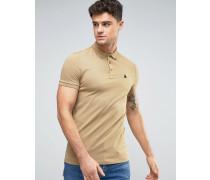 Muskek-Polohemd aus beigefarbenem Pikee mit Button-Down-Kragen Beige