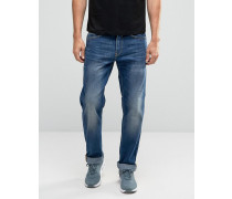 Rock Gerade geschnittene Jeans in Stonewash Blau