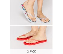 FRIENDLY Zweier-Packung Flip-Flops Mehrfarbig