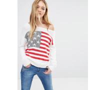 Americana Schulterfreier Strickpullover im Flaggendesign Mehrfarbig
