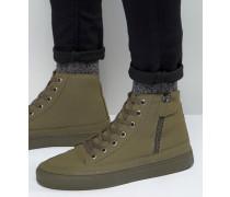 Knöchelhohe Sneaker in Khaki mit Reißverschluss Grün