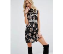 Kleid aus 100% Seide mit Wildblumenmuster Schwarz