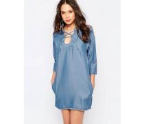 Chambray-Kleid mit Schnürung Blau