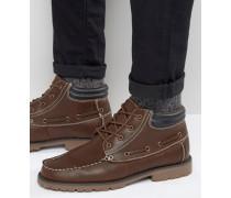 Mokassin-Stiefel aus braunem Kunstleder Braun