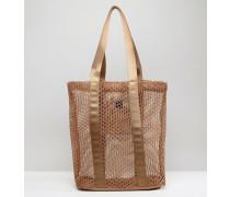 LIFESTYLE Shopper-Tasche mit Netz- und Webeinsätzen Braun