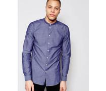Darnell Hemd mit Grandad-Kragen Marineblau