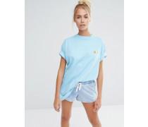 Übergroßes Boyfriend-T-Shirt mit aufgesticktem Meerschweinchen Blau