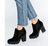 Jeans Sandy Suede Chunky Heeled Ankle Boots Schwarz