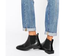 Femme Silvia Flache Chelsea-Stiefel aus schwarzem Leder Schwarz