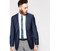Schmal geschnittene Jacke mit 2 Knöpfen Blau