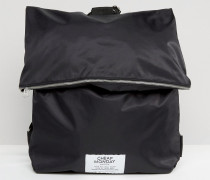 Puffer Rucksack mit Reißverschluss Schwarz