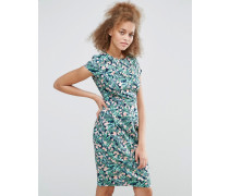 Serita Kleid mit Palmenmuster Blau