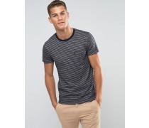 Gestreiftes, marineblaues T-Shirt in schmaler Passform Marineblau
