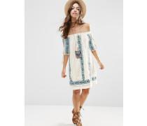 Premium Schulterfreies, ausgestelltes Kleid mit Stickerei im Aztekendesign Cremeweiß