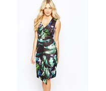 Kleid mit tropischem Aufdruck Mehrfarbig