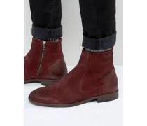 Chelsea-Stiefel aus burgunderrotem Wildleder mit Lederakzenten Rot