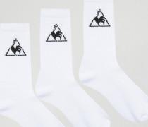 3er Pack Socken mit Logo Weiß