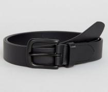 Klassischer, schwarzer Ledergürtel Schwarz